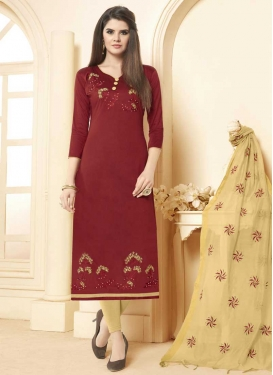 Cotton Beige and Maroon Trendy Churidar Suit
