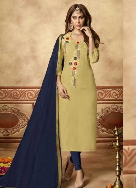Cotton Beige and Navy Blue Embroidered Work Trendy Churidar Salwar Kameez