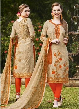 Cotton Beige and Orange Print Work Pant Style Straight Salwar Suit