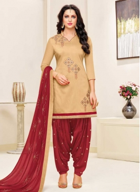 Cotton Beige and Red Embroidered Work Patiala Salwar Suit