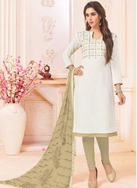 Cotton Beige and White Embroidered Work Straight Salwar Kameez