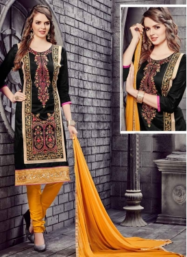 Cotton Black and Mustard Embroidered Work Trendy Churidar Salwar Suit