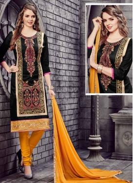 Cotton Black and Mustard Embroidered Work Trendy Churidar Salwar Suit
