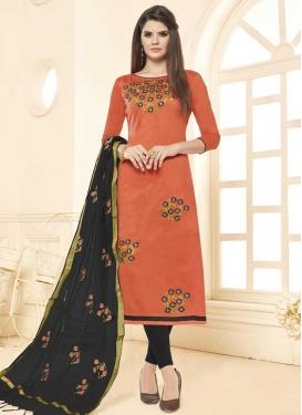 Cotton Black and Orange Beads Work Trendy Churidar Salwar Suit