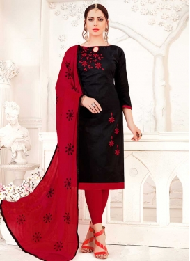 Cotton Black and Red Churidar Salwar Kameez