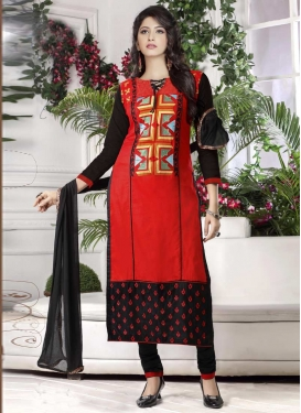 Cotton Black and Tomato Embroidered Work Trendy Churidar Salwar Suit