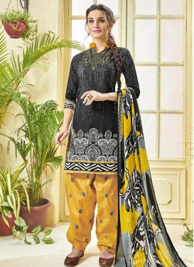 Cotton  Black and Yellow Designer Patiala Salwar Kameez