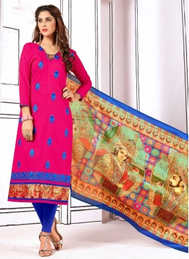 Cotton Blue and Rose Pink Trendy Straight Salwar Suit