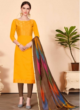 Cotton Brown and Mustard Thread Work Trendy Churidar Salwar Suit
