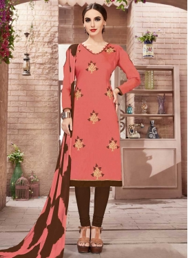 Cotton Coffee Brown and Salmon Embroidered Work Trendy Churidar Salwar Kameez