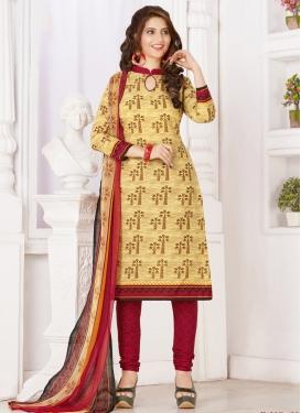 Cotton Cream and Crimson Print Work Churidar Salwar Kameez