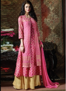 Cotton Cream and Hot Pink Designer Palazzo Salwar Suit
