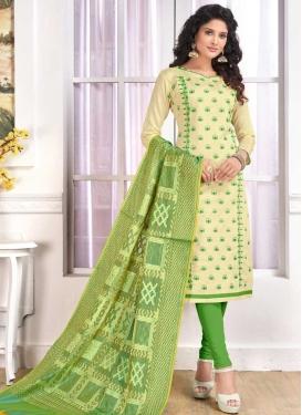 Cotton Cream and Olive Trendy Churidar Salwar Kameez