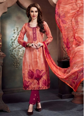 Cotton Crimson and Salmon Digital Print Work Pant Style Salwar Kameez