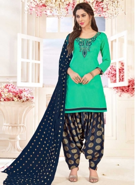 Cotton Designer Semi Patiala Suit