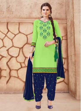 Cotton Designer Semi Patiala Suit For Ceremonial