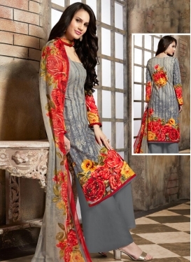 Cotton  Digital Print Work Palazzo Straight Salwar Kameez