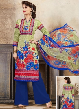 Cotton  Digital Print Work Palazzo Straight Suit