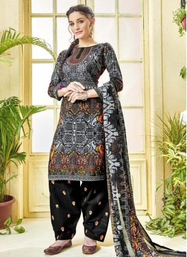 Cotton  Digital Print Work Semi Patiala Salwar Suit