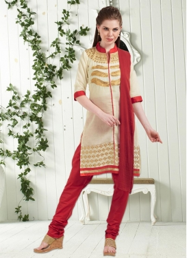 Cotton Embroidered Work Churidar Punjabi Suit