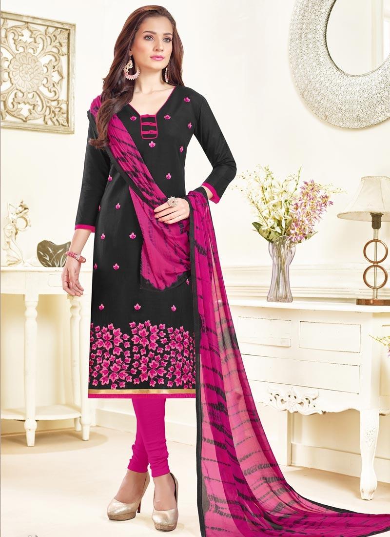 Cotton  Embroidered Work Churidar Salwar Kameez