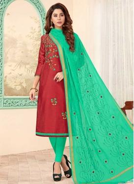 Cotton Embroidered Work Churidar Salwar Suit