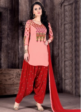 Cotton  Embroidered Work Red and Salmon Patiala Salwar Kameez For Festival