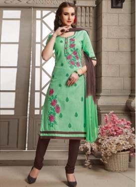 Cotton Embroidered Work Straight Salwar Kameez