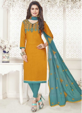 Cotton Embroidered Work Trendy Churidar Suit