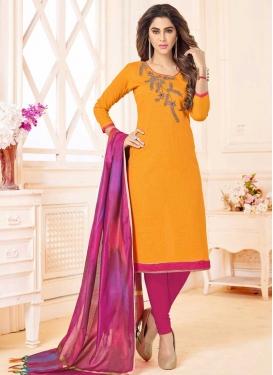Cotton Fuchsia and Mustard Trendy Churidar Salwar Suit