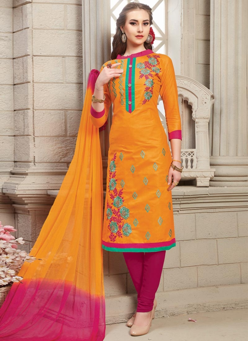 Cotton Fuchsia and Orange Embroidered Work Trendy Churidar Salwar Kameez