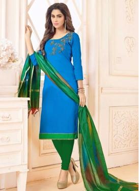 Cotton Green and Light Blue Embroidered Work Trendy Churidar Salwar Kameez