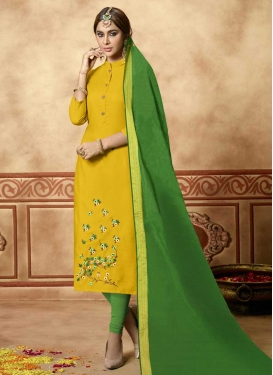 Cotton Green and Yellow Embroidered Work Churidar Salwar Suit