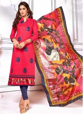 Cotton Grey and Rose Pink Trendy Churidar Salwar Kameez
