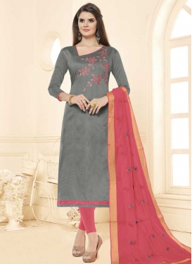 Cotton Grey and Salmon Churidar Salwar Kameez