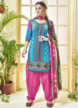 Cotton  Hot Pink and Light Blue Patiala Salwar Kameez