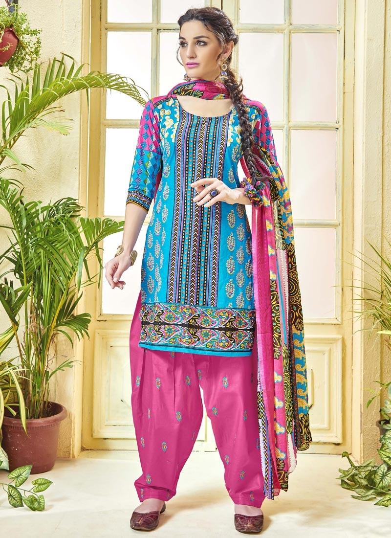 18ceeeaf1a Buy Cotton Hot Pink and Light Blue Patiala Salwar Kameez Online