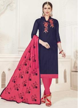 Cotton Hot Pink and Navy Blue Churidar Salwar Kameez