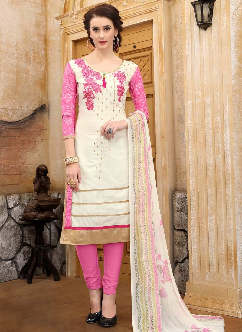 Cotton Hot Pink and Off White Embroidered Work Trendy Churidar Salwar Suit