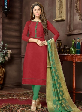 Cotton Lace Work Churidar Salwar Kameez