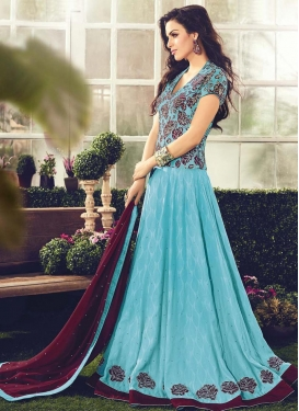 Cotton Lace Work Floor Length Designer Salwar Suit