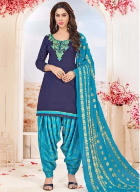 Cotton Light Blue and Navy Blue Embroidered Work Semi Patiala Salwar Suit