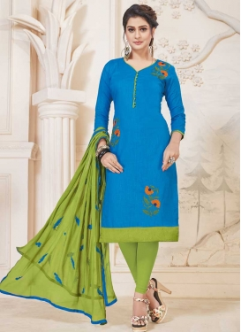 Cotton Light Blue and Olive Trendy Churidar Suit