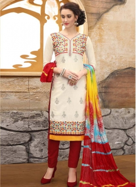 Cotton Maroon and Off White Embroidered Work Pant Style Straight Suit