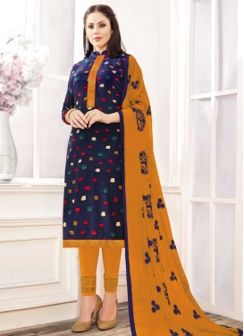 Cotton Mustard and Navy Blue Trendy Churidar Suit