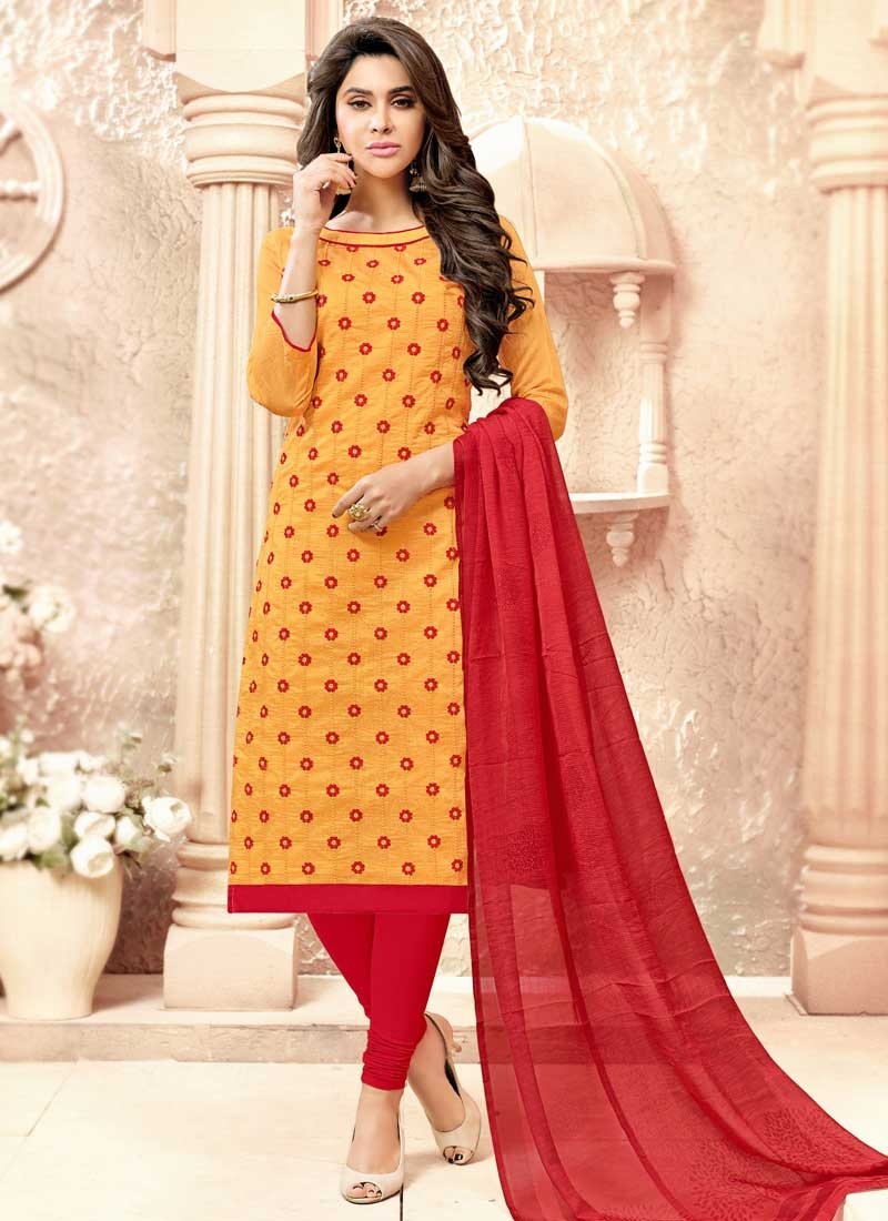 Cotton Mustard and Red Embroidered Work Trendy Churidar Suit