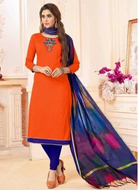 Cotton Navy Blue and Orange Churidar Salwar Kameez