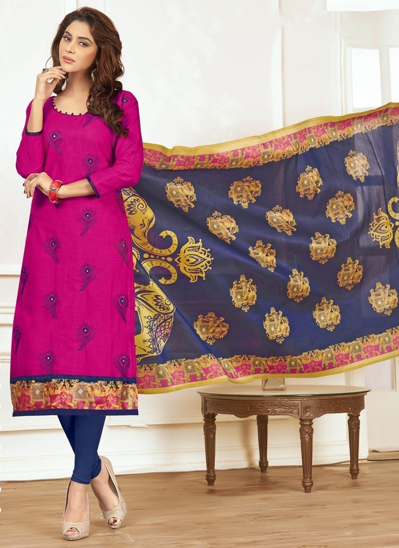 Cotton Navy Blue and Rose Pink Churidar Salwar Suit