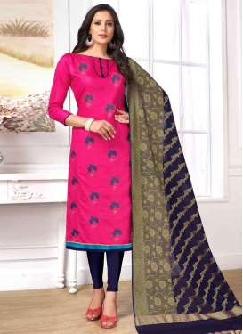 Cotton Navy Blue and Rose Pink Embroidered Work Churidar Salwar Kameez
