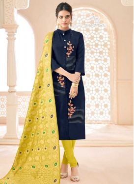 Cotton Navy Blue and Yellow Trendy Churidar Salwar Kameez